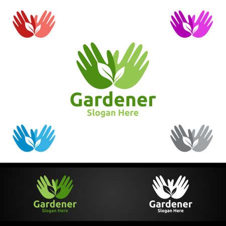 Gardener Care Logo Gardener Logo with Green Garden Environment or Botanical Agriculture Vector Design Illustration