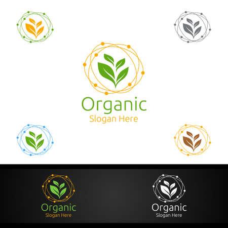 Organic Gardener Logo with Green Garden Environment or Botanical Agriculture Vector Design Illustration