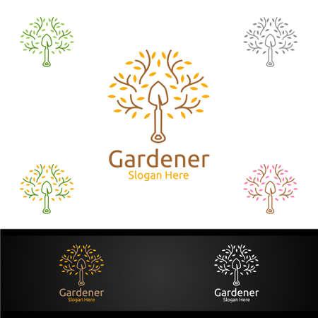 Zen Gardener Logo with Green Garden Environment or Botanical Agriculture Vector Design Illustration