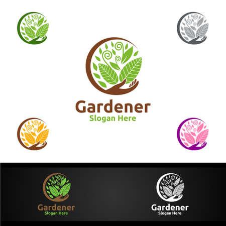 Gardener Care Logo with Green Garden Environment or Botanical Agriculture Vector Design Illustration
