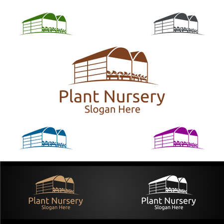 Plant Nursery Gardener Logo with Green Garden Environment or Botanical Agriculture Vector Design Illustration