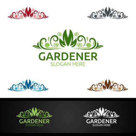 Gardener Logo with Green Garden Environment or Botanical Agriculture Vector Design Illustration Vettoriali