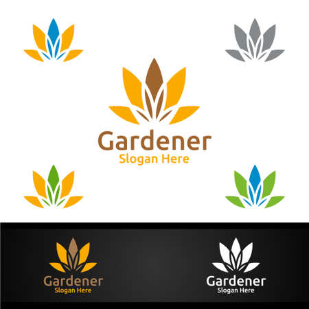 Nutrition Gardener Logo with Green Garden Environment or Botanical Agriculture Design 일러스트