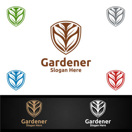 Security Gardener Logo with Green Garden Environment or Botanical Agriculture 일러스트