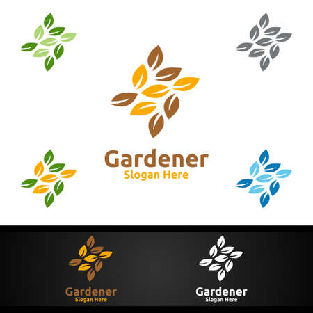 Gardener Logo with Green Garden Environment or Botanical Agriculture