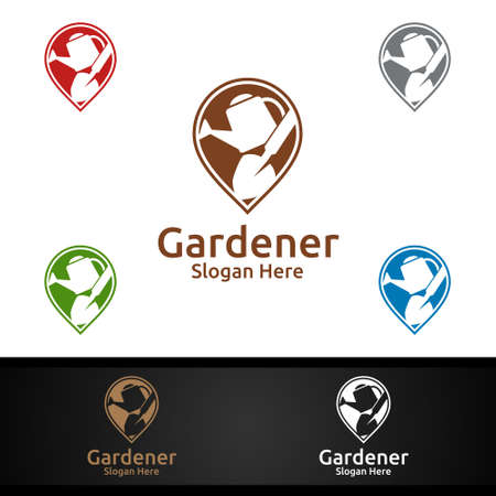 Pin Gardener Logo with Green Garden Environment or Botanical Agriculture