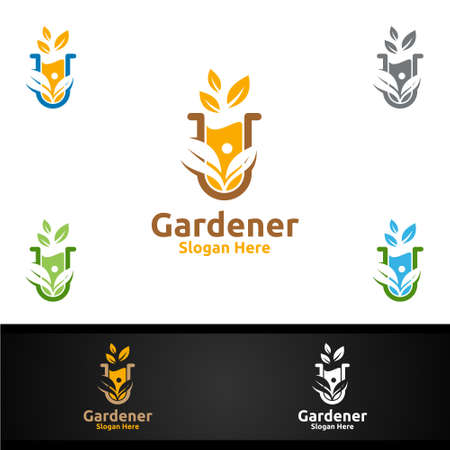 Lab Gardener Logo with Green Garden Environment or Botanical Agriculture