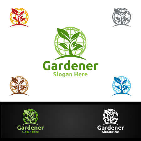 Global Gardener Logo with Green Garden Environment or Botanical Agriculture 일러스트