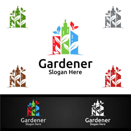 City Gardener Logo with Green Garden Environment or Botanical Agriculture