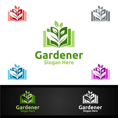 Book Gardener Logo with Green Garden Environment or Botanical Agriculture