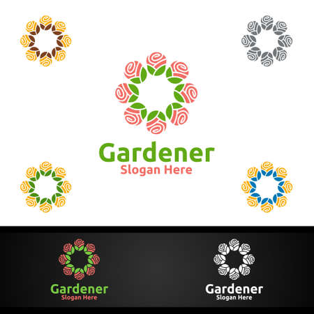 Flower Gardener Logo with Green Garden Environment or Botanical Agriculture Design