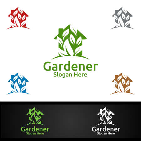 House Gardener Logo with Green Garden Environment or Botanical Agriculture Design 일러스트