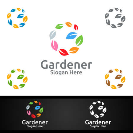 Global Gardener Logo with Green Garden Environment or Botanical Agriculture Design
