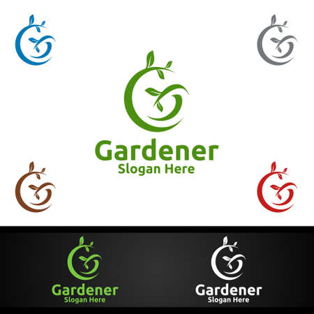 Gardener Care Logo with Green Garden Environment or Botanical Agriculture Design
