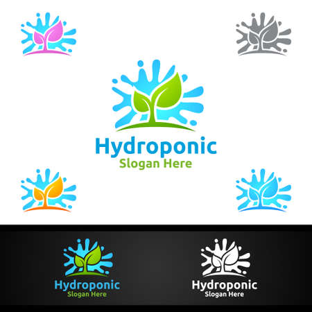 Water Hydroponic Gardener   with Green Garden Environment or Botanical Agriculture Vector Design Illustration