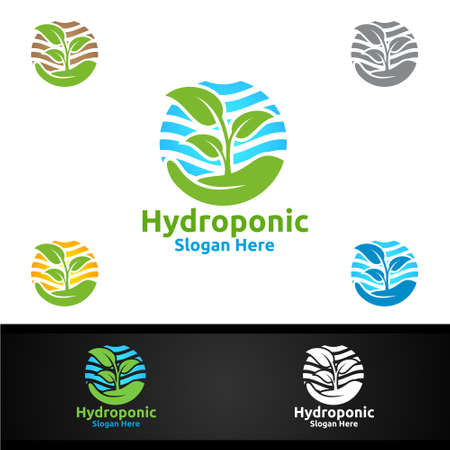 Hand Hydroponic Gardener  with Green Garden Environment or Botanical Agriculture Vector Design Illustration