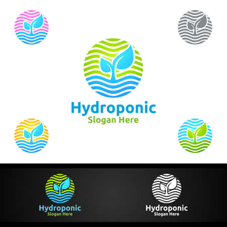 Sun Rise Hydroponic Gardener  with Green Garden Environment or Botanical Agriculture Vector Design