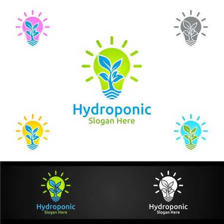 Idea Hydroponic Gardener  with Green Garden Environment or Botanical Agriculture Vector Design