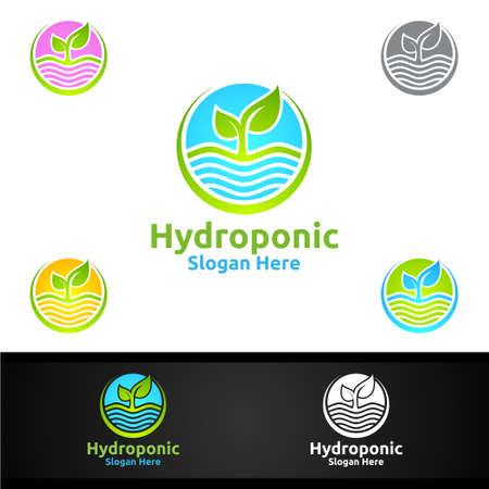 Sun Rise Hydroponic Gardener   with Green Garden Environment or Botanical Agriculture Vector Design Illustration