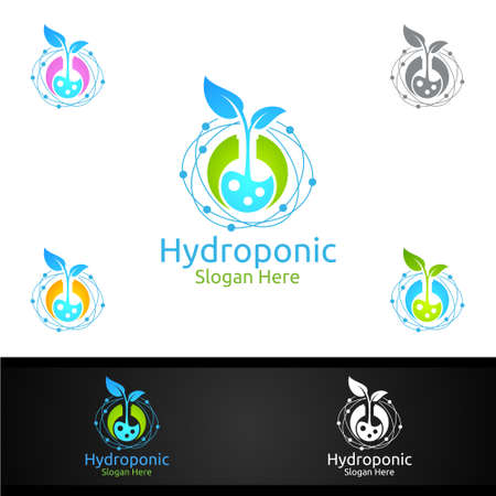 Lab Hydroponic Gardener  with Green Garden Environment or Botanical Agriculture Vector Design Illustration