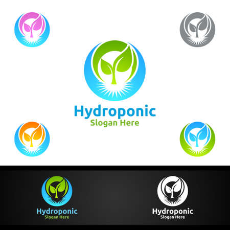 Root Hydroponic Gardener   with Green Garden Environment or Botanical Agriculture Vector Design