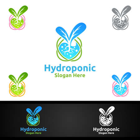 Lab Hydroponic Gardener   with Green Garden Environment or Botanical Agriculture Vector Design
