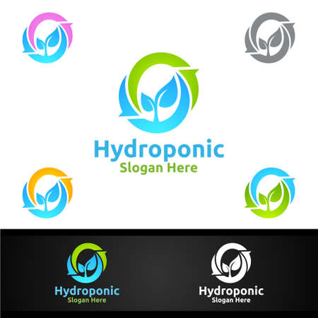 Infinity Hydroponic Gardener   with Green Garden Environment or Botanical Agriculture Vector Design