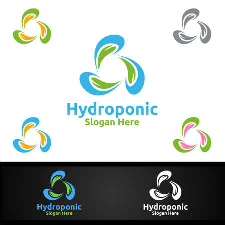 Water Hydroponic Gardener with Green Garden Environment or Botanical Agriculture Vector Design