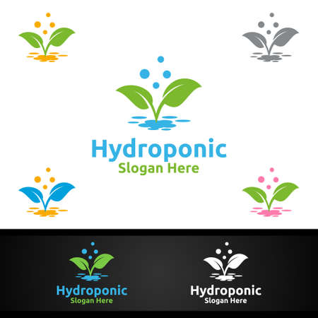 Water Hydroponic Gardener   with Green Garden Environment or Botanical Agriculture Vector Design Illusztráció