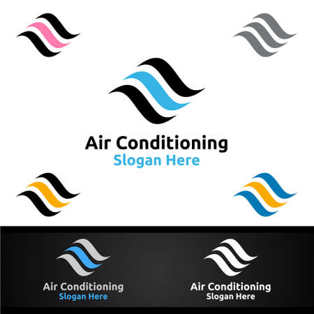 Air Conditioning and Heating Services Icon Design Vetores