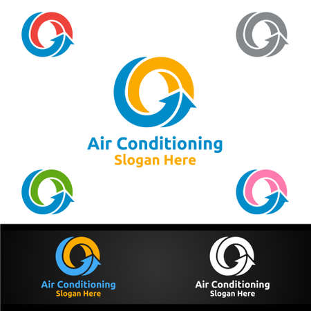 Air Conditioning and Heating Services Icon Design Vector Illustration