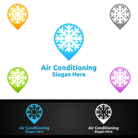 Pin Snow Air Conditioning and Heating Services Logo Design