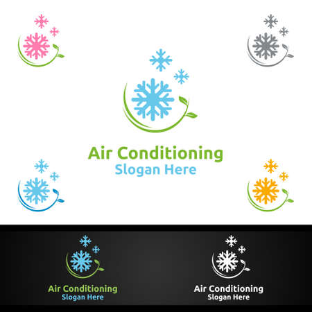 Green Snow Air Conditioning and Heating Services Logo Design
