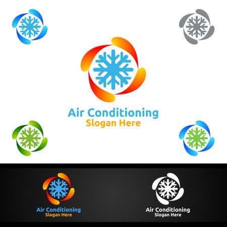 Snow Air Conditioning and Heating Services Logo Design Logo