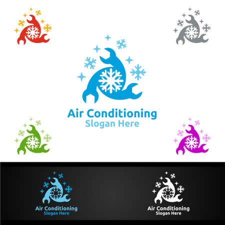 Fix Snow Air Conditioning and Heating Services Logo Design Logo