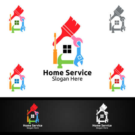 Real Estate and Fix Home Repair Services Logo Design