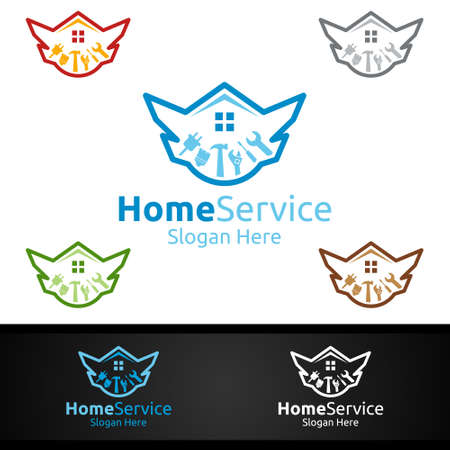 Luxury Real Estate and Fix Home Repair Services Logo Design