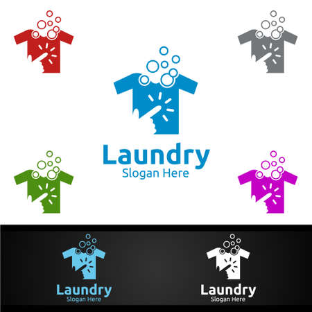 Click Laundry Dry Cleaners Logo with Clothes, Water and Washing Concept Design