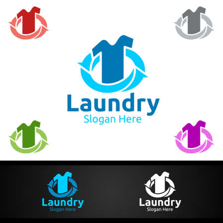 Laundry Dry Cleaners Logo with Clothes, Water and Washing Concept Design