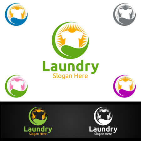 Eco Laundry Dry Cleaners Logo with Clothes, Water and Washing Concept Design