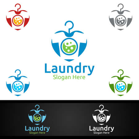 Love Laundry Dry Cleaners Logo with Clothes, Water and Washing Concept Design