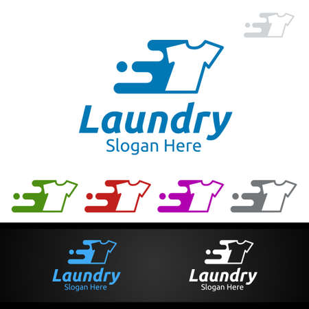 Fast Laundry Dry Cleaners Logo with Clothes, Water and Washing Concept Design