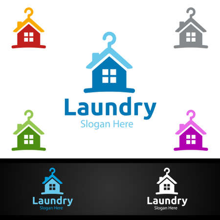 Home Laundry Dry Cleaners Logo with Clothes, Water and Washing Concept Design
