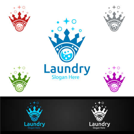 King Laundry Dry Cleaners Logo with Clothes, Water and Washing Concept Design