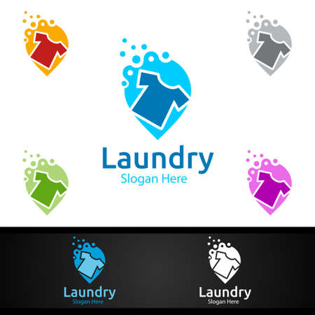 Pin Laundry Dry Cleaners Logo with Clothes, Water and Washing Concept Design