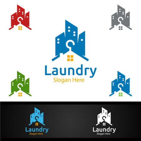 City Laundry Dry Cleaners Logo with Clothes, Water and Washing Concept Design