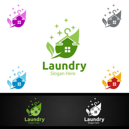 Eco Laundry Dry Cleaners with Clothes, Water and Washing Concept Design