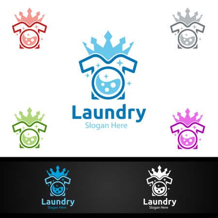 King Laundry Dry Cleaners with Clothes, Water and Washing Concept Design