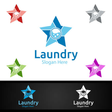 Star Laundry Dry Cleaners with Clothes, Water and Washing Concept Design