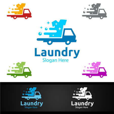 Delivery Laundry Dry Cleaners with Clothes, Water and Washing Concept Design